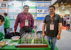 Meng Tee and Paul Dydula of Quiedan: the only U.S. Greenhouse Manufacturer exhibiting at the Horti Asia this year. They have developed a complete turnkey system for tropical climate horticulture.