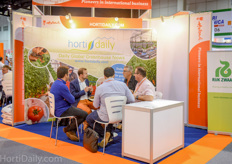 The HortiDaily booth provided a space for meetings.