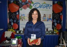 Leslie Simmons with Dave's Specialty Imports shows strawberries grown in Central Florida.