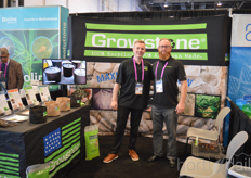 Barry Toornman and Ian Mclennan featuring Growstone's various gradient of stones for use in plant growth.
