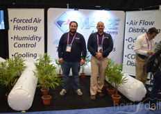 Dominic Paulhus and Mike Neutel of Mabre demonstrating their greenhouse airflow solution