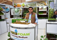 Eduardo Rojas of Peat Foam promoting Inorganic foam for organic propagation or any other production. This Mexican company also exports their products to Puerto Rico, Peru, Chile and Portugal.