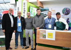 Steven Baker of Mitrelli and Fertirrigation Solutions, Amir Fox of Pro Fit Agro, Roi Levy of Sempro, Itzik Ben Bassat of Sempro and Gonen Paz of Profit Agro at the booth of Profit Agro, who supplies the different products of these different companies. They were part of the Israeli pavillion.