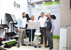 The team of Ina Plastics presenting the new tray for propagation on rails with pugs fro high tech nurseries. On the photo, fltr: Konstantinuous Tsouaris, Gloria Lopez, Carlos Alvarez and Jacob Tsohakis.