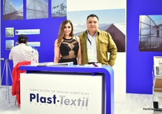 Jesus Salas of Plast Textil together with their model Cynthia Posada of Plast Textil.