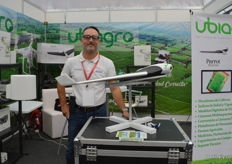 The booth of Ubiagro, they use drones dedicated to precision agriculture, with the special hardware it is possible to give the healthstatus of the crop.