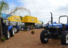 New Holland was well represented with a big booth outside.