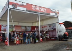 The husky booth outside.