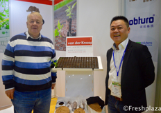 William J. Kuijpers from Delflandasia B.V., which delivers services like updating existing greenhouses, turn key projects, new project consultancy and supervision of greenhouse installation. He is together with Mao Liu from Van der Knaap who can deliver rooting and growing solutions.