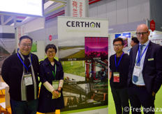 From left to right, Simon Lin, Wang Wenjing, Wang Chengda and Richard van der Sande from Certhon. Certhon designs and builds modern greenhouses for the greenhouse horticulture sector.