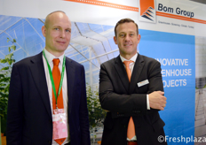 Fulco Wijdooge from Ridder visiting the booth of John Meijer from Bom Group. Bom Group is specialized in the supply, construction and installation of Venlo greenhouses, screen systems and climate systems for the glass horticulture sector, both at home and abroad.