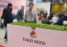 The cucumbers of Takii Seed, shown by Rogier Laurens
