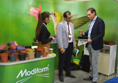Kees van Beek with Modiform showing some or the many products to visitors