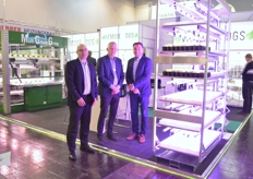 Steen Tharald Beyer, Soren Kristensen Erik Jensen with Viemose-Driboga. In the background of course the famous Multi Green Grow, but as shown in forefront they provide other vertical farming solutions as well.