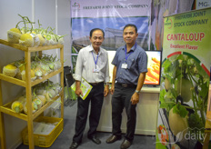 Tran van Nam his colleague Bui Thai Hoa with Frefarm. The company grows cantaloupe melons on a 70 ha+ farm with a 7 hectare greenhouse.