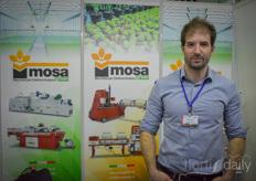 Oliver Russo with Mosa Green, showing the company's seeding machines.