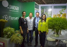 Danziger Florsani Ecuador are present together to show to Vietnamese visitors opportunities of high quality, Ecuadorian grown flowers. In the photo Anat Moshes, Gonzalo Garcia, Daniel Kaufman Belen Garcia.