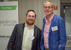 Rabbi Sharratt (iGrow News) and Marc Oosterhuis (Babylon Micro-Farms)