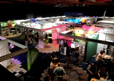 A view from above of the trade show exhibition, while the delegates enjoy lunch.