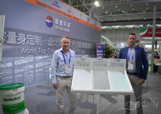 Roger de Jaegher with Mardenkro and Michel Kauderer with Verkade Klimaat. Together with Horti XS, Staalplast, Horticoop & Priva they are present at the show and in the Chinese market.