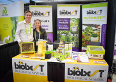 Jack Maruna & Veronica Cervantes with Biobest Canada showing of course the bumblebees, but also Nutrimite and other IPM solutions.