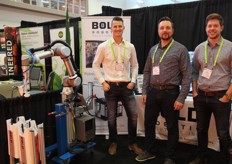 Bill VandenOever and hiss colleagues with Bold Robotic Solutions showing - you might never guess - their Robotic Solutions, to increase productivity, improve safety, and decrease cost. Photo by Greenhouse Canada.