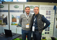 Sebastien Moulias & Philippe Merik with Emis, offering textiles to be used in horticulture.