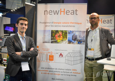 Francois-Xavier Sardy & Thibault Perrigault with NewHeat. The team with NewHeat sees opportunities for using solar power to provide greenhouses with heat! The panels needed for this are way cheaper than the ones needed to provide electricity from solar panels, and that makes it an accessible solution.