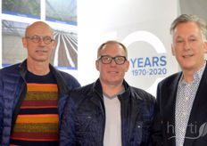 Jeroen van Leeuwen, André Funk (AgrowTec) and Eric van der Klauw of AgrowSer spotted in hall 8.1, this year renamed 'greenhouse horticulture technology hall' at the fair.