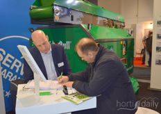 Rob from Adrichem from Hortimat doing serious business on the Fruit Logistica