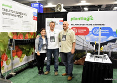 The new Plantlogic tabletop substrate growing system , shown by Alejandra Castellanos, Israel Holby & Michael Schmidt