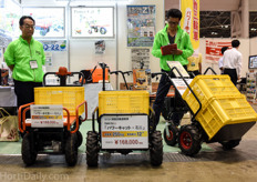 Many medium and low tech Japanese greenhouses don't have a piperail system or a concrete path, hence these electrical tractors are a welcome invention to transport the freshly picked produce.