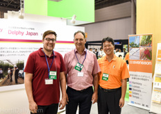 Dennis Steentjes and Aad van der Berg of Delpy together with Akira Saito of Seiwa.