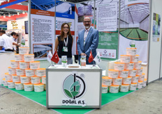 Sezin Tezcan and Mehmet Yula promoting the shading agents of Turkish manufacturer Dogal.