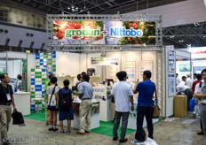 Stone wool substrates from Grodan at the booth of Nittobo.