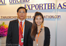 Mr Jade Meyanyieam and his daughter. Meyanyieam is the president of the Thai Orchid Exporter Association. Next to this he also has a 40 hectare orchid nursery in the Ratchaburi Province.