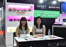 Avnet showcased their Smart Agricultural solutions, including products Osram, STM and Quectel. In the photo Carrie Chen.