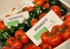 De Ruiter, Monsanto's greenhouse vegetable division, was present with their well known cluster tomatoes. According to their Dutch reps, Komeett obtained a big market share in the Dutch greenhouses. It's successor Merlice is also doing very well.
