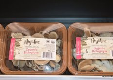 Brown packaging for Highline's organic mushroom program.