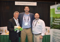 Scott McDulin, Dave Yeager and Adam Chernow with Schmieding Produce. Scott proudly shows a bag of Skinny Potatoes.