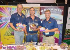 John Zaninovich, Chance Kirk and Justin Gonzalez proudly show Razzle Dazzle and Family Reserve Grapes from VBZ & Sons, Inc.