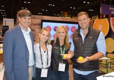 The team of Apeel Sciences is ready to release Apeel- treated citrus. From left to right: Andy Hamilton, CEO with EcoFarms, Camille Hanna, Michelle Masek and James Rogers with Apeel Sciences. James proudly shows the difference between a lemon that's treated with Apeel versus a non-treated lemon.
