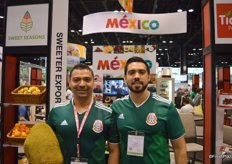 Yasmani Garcia and Jovanni Bernal with Sweet Seasons show jackfruit and are proud Mexico advanced to the next round of the world cup.