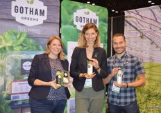 Robin Poulsen, Nicole Baum and Kristopher Marx with Gotham Greens proudly show the company's new raw uncooked salad dressings.