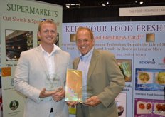 RJ Hassler and his father Rick Hassler won an award in the category Best New Food Safety Solution with the Food Freshness Card. The card keeps produce fresh longer and cuts spoilage in half. Just put it in your refrigerator.