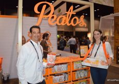 Marcus Seiden and Madeline Ulivieri with Snack it Forward promote the company's Peatos; a classic cheese snack without the calories.