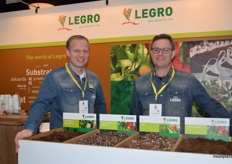 Jacco Hoogendoorn and Dorus Verhoeven showing various substrate options at the Legro stand.