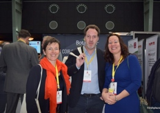 Cathelain Sylvie and Stephane Decourcelle from Fruits Rouges, along with Mila Den Engelsman from Soft Fruits Europe.