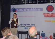 Jamie Smith from James Hutton Ltd sharing new berry varieties at the FreshIdeas podium.